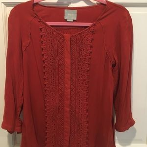 Maeve from Anthropologie Burnt Orange Top
